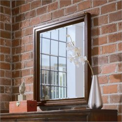 American Drew Tribecca Landscape Mirror with Supports in Root Beer Finish