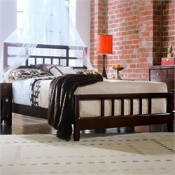 American Drew Tribecca Modern Slat Bed in Root Beer