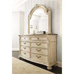 American Drew Jessica McClintock The Boutique Dresser and Mirror Set in White Veil