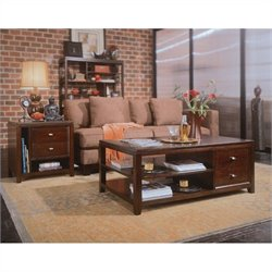 American Drew Tribecca 3 Piece Coffee Table Set in Root Beer