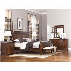 American Drew Cherry Grove 4 Piece Bedroom Set in Mid Tone Brown