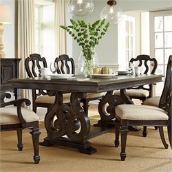 American Drew Manchester Court Trestle Wood Dining Table in Brown