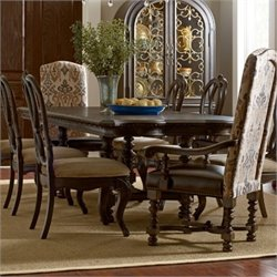 American Drew Casalone Wood Trestle Dining Table in Cafe