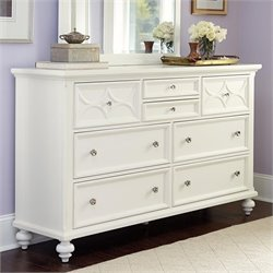 American Drew Lynn Haven 8 Drawer Wood Dresser in White