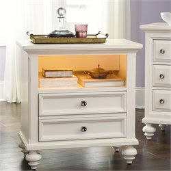 American Drew Lynn Haven 1 Drawer Wood Nightstand in White