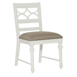 American Drew Lynn Haven Wood Fret Back Side Chair in White