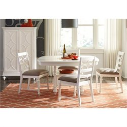 American Drew Lynn Haven 6 Piece Wood Storage Dining Set in White