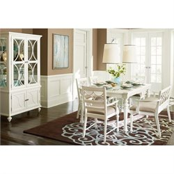 American Drew Lynn Haven Wood Dining Set in White