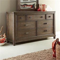 American Drew Park Studio 7 Drawer Wood Dresser in Taupe