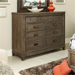 American Drew Park Studio 9 Drawer Wood Dresser in Taupe