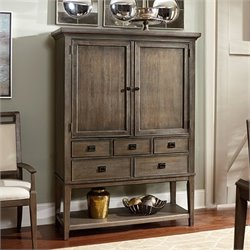 American Drew Park Studio 2 Door Mirrored Back Bar Cabinet in Taupe