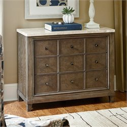 American Drew Park Studio 3 Drawer Wood Apothecary Hall Chest in Taupe