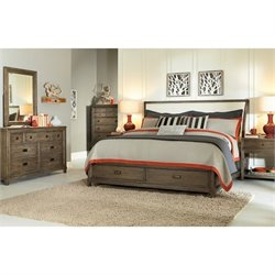 American Drew Park Studio 5 Piece Storage Sleigh Bedroom Set in Taupe