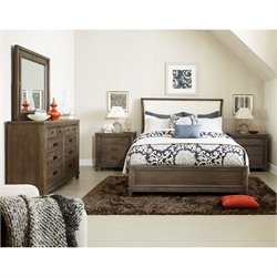 American Drew Park Studio 5 Piece Wood Sleigh Bedroom Set in Taupe