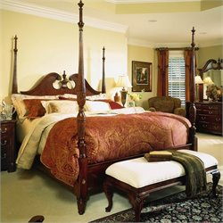 American Drew Cherry Grove Pediment 2 Piece Bedroom Set in Antique Cherry