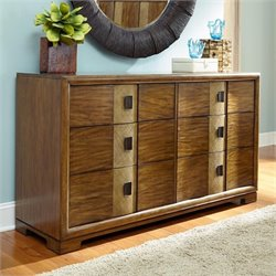 American Drew Grove Point 6 Drawer Wood Dresser in Warm Khaki