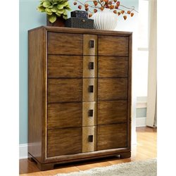 American Drew Grove Point 5 Drawer Wood Chest in Warm Khaki