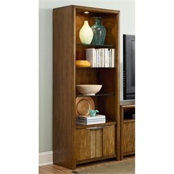 American Drew Grove Point 4 Shelf Wood Audio Pier in Warm Khaki