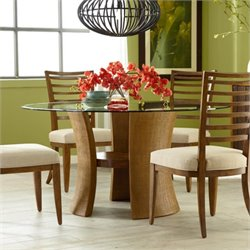American Drew Grove Point Round Glass Dining Table in Warm Khaki