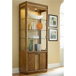 American Drew Grove Point 4 Door Bunching Glass Curio Cabinet in Khaki