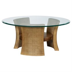 American Drew Grove Point Round Glass Coffee Table in Warm Khaki