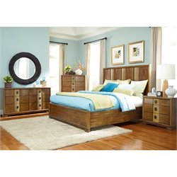 American Drew Grove Point 5 Piece Wood Bedroom Set in Warm Khaki