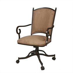 Pastel Furniture Atrium Fabric Arm Dining Chair in Autumn Rust Finish