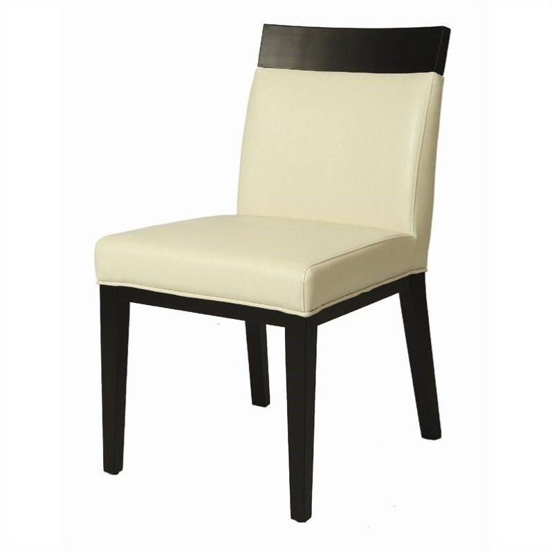 Pastel Furniture Elloise  Dining Chair in Bonded White Leather