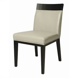 Pastel Furniture Elloise  Dining Chair in Bonded Light Gray Leather