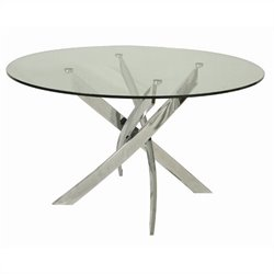 Pastel Furniture Fahrenheit Round Glass Top Dining Table in Chrome
