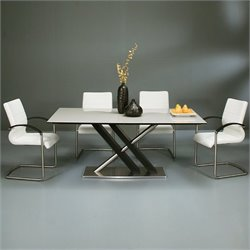 Pastel Furniture Charlize 5 Piece Dining Set w/ Akasha Chairs in Wenge