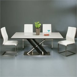 Pastel Furniture Charlize 5 Piece Dining Set w/ Olander Chairs