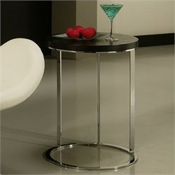 Pastel Furniture Metro High Gloss Wood Finish End Table in Black