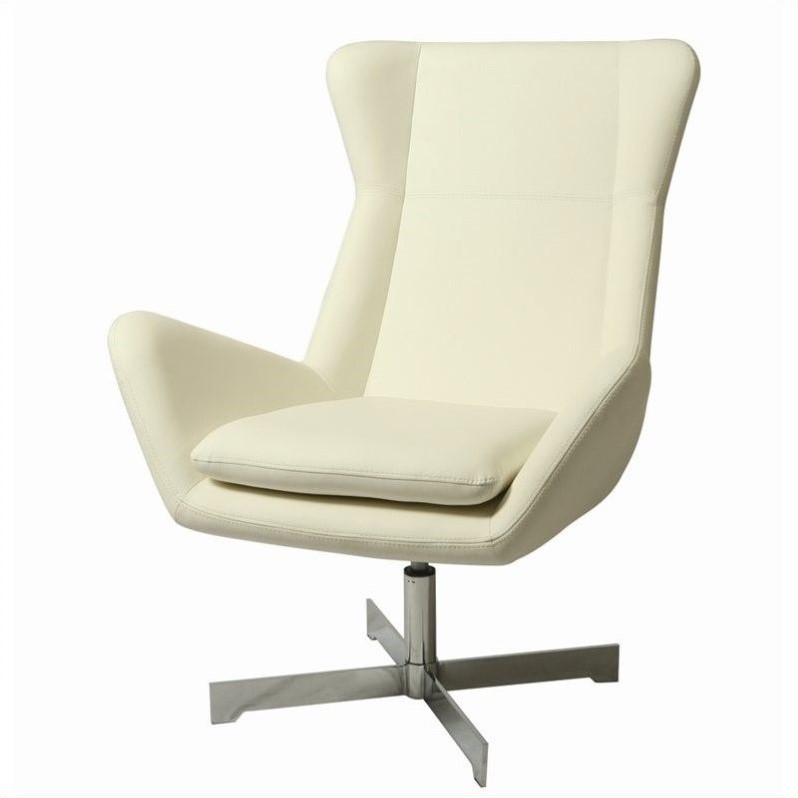 Pastel Furniture Seneca Faux Leather Club Chair in Ivory