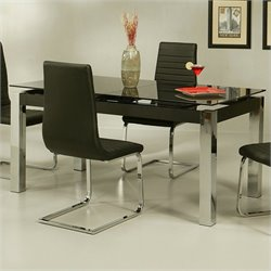 Pastel Furniture Monaco Rectangular Dining Table in Black Glass