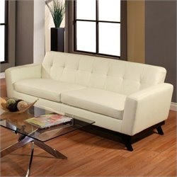 Pastel Furniture Qarchak Leather Sofa in Ivory
