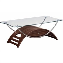 Global Furniture USA Sweeney Glass Top Coffee Table in Mahogany Finish
