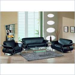 Global Furniture USA Charles 3-Piece Leather Sofa Set in Black
