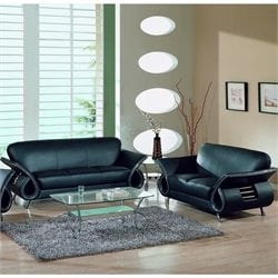 Global Furniture USA Charles 2-Piece Leather Sofa Set in Black