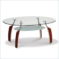 Global Furniture USA Francis Oval Coffee Table with Glass Top in Mahogany