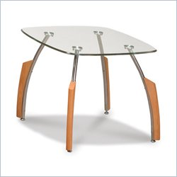 Global Furniture USA Francis Glass Top End Table in Natural Light Cherry