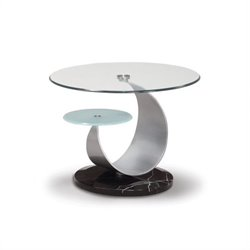 Global Furniture USA Juno Glass Top End Table in Black and Silver