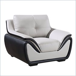 Global Furniture USA 3250 Leather Arm Chair in Gray and Black