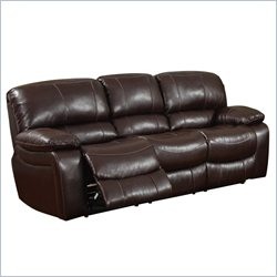 Global Furniture USA Leather Reclining Sofa in Burgundy