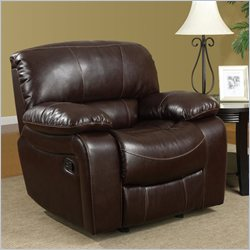 Global Furniture USA Leather Glider Recliner Chair in Burgundy