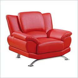 Global Furniture Chair with Chrome Legs in Red