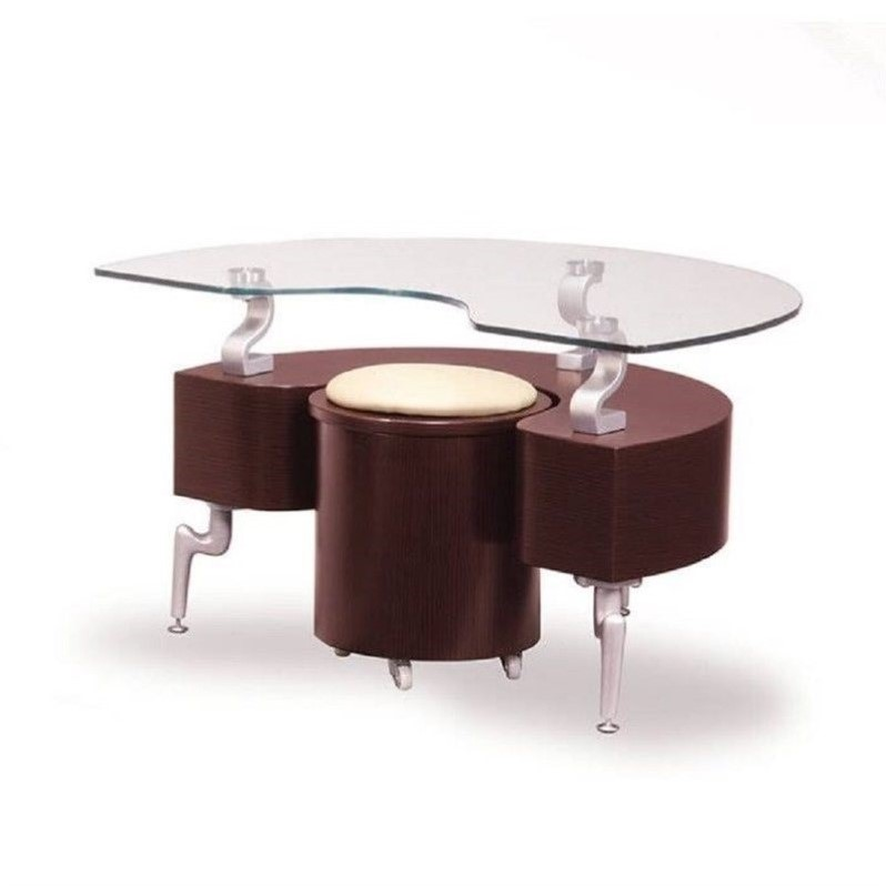 Global Furniture End Table with Cappuccino Cushions in Mahogany