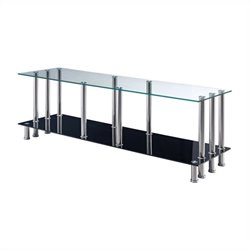 Global Furniture Clear Top Euro TV Console with Black Base Shelf