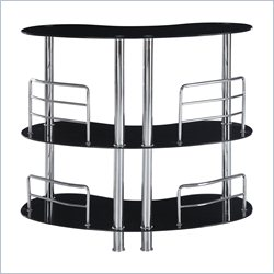 Global Furniture Two Shelf Bar Table with Chrome Legs in Black