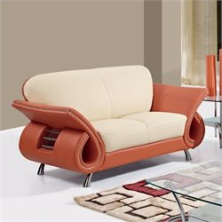 Global Furniture USA Charles Leather Loveseat in Beige and Orange